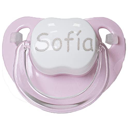 BebeDeParis |Chupete Personalizado con Nombre Del Bebé, Tetina de Silicona, Chupete en color Rosa Recomendado Para Bebés a Partir de 6 meses