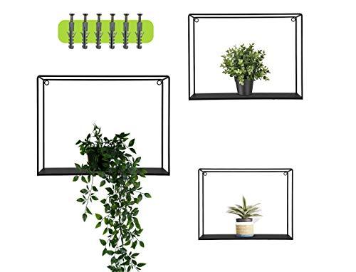 WiLa Home Juego de 3 estantes de pared de diseño industrial con tacos y tornillos extra | Estantería flotante negra de metal | Decoración de pared elegante cuadrada como estantería para libros 🔥