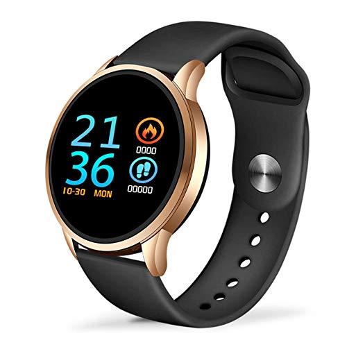Sport smart Watch Smart Bracelet IP67 Impermeabile Fitness Tracker Cardiofrequenzimetro Pedometro Polsino Miglior Regalo per Donna Uomo-ORO_Nero