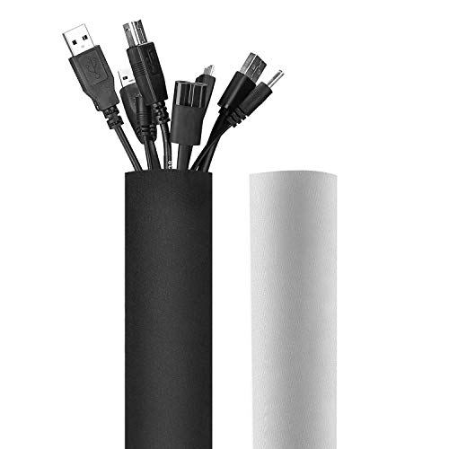 JOTO 130' Cable Management Sleeve, Cuttable Neoprene Cord Management Organizer System, Flexible Cable wrap Cover Wire Hider for Desk TV Computer Office Home Theater -Reversible Black/White, Large