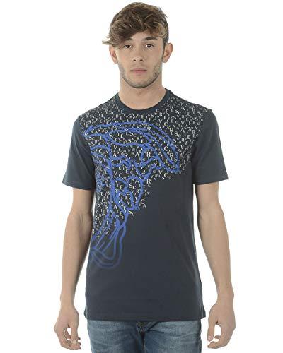 versac Versace Collection Men's Cotton Baroque Multi-Color Graphic Crew Neck T-Shirt (Small)