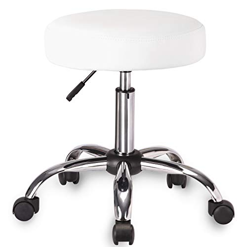 Amolife Multi-Purpose Hydraulic Adjustable Round Drafting Chair Rolling Swivel Stool with Wheels and Soft Padding for Home Office Beauty Barber Salon Medical Tattoo Vanity Massage Facial Spa in White