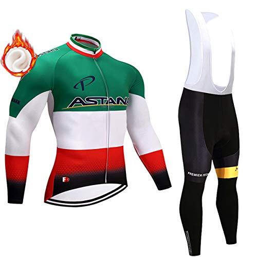 Abbigliamento da Ciclismo a Manica Lunga per Uomo, Abbigliamento da Bicicletta in Pile Termico Invernale