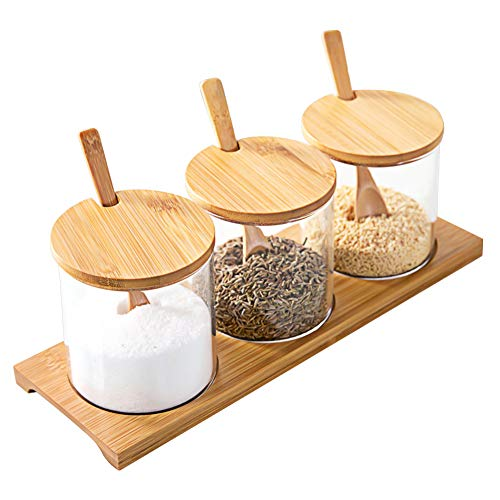 ActionEliters Condiment Container Seasoning Box Set Glass Condiment Jar with Wooden Spoon Lid and Tray Best Cruet Pot for Home and Kitchen 10 OZ Set of 3