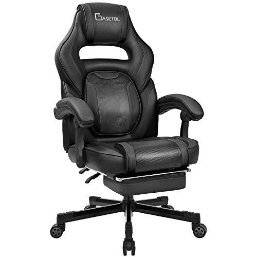 BASETBL Gaming Stuhl mit Fußstütze, 3D verstellbare Taille, komfortable breite Sitzfläche aus PU-Leder, einfache Montage & ergonomisch schwenkbar, bis 150kg belastbar (Schwarz)