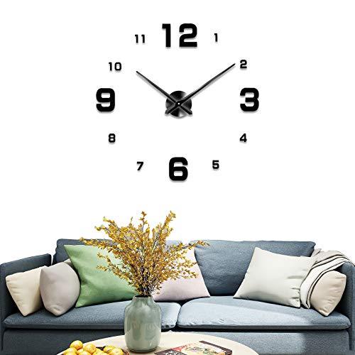 SVNXIUS NATO Modern Style 3D DIY Large Wall Clock Full Digital Creative Wall Clock Suitable for Kitchen, Living Room, Bedroom(Black)
