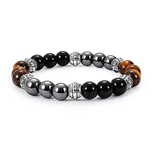 Chtom Pulsera Beads, Vintage hematita Tiger Ojo Perlas Pulseras Hombres Natural Obsidian Pulsera para Mujeres Magnético Protección de la Salud Joyería de Moda (Color : A)