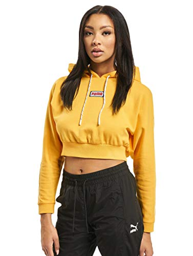 PUMA Damen Hoodies Colour Block Cropped gelb L