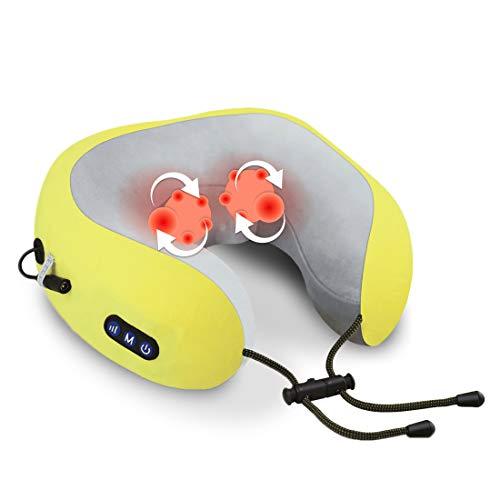 Cuscino da Viaggio Memory Foam, USB con massaggio riscaldante e impastante Cuscino Cervicale da Viaggio Tightness Regolabile, Cuscino Aereo