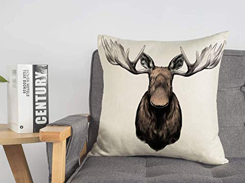Pillow Case Elk Drawing Big Head Color Alone Pattern Animals Wildlife Isolated Male Wild Nature Stuffed Sketch Linen Toss Soft Square Throw Cushion Cover for Couch Bed Lving Room 20 x 20 Inch