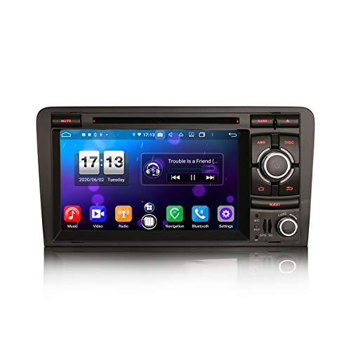 ERISIN Autoradio Android 10.0 da 7 pollici per AUDI A3 S3 RS3 RNSE-PU Supporto GPS Sat Nav Carplay Android Auto DSP Bluetooth Wifi DAB + TPMS 8-core RAM 4GB + 64GB ROM