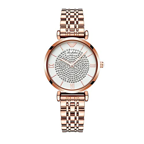 qwert Moda Gypsophila Watch Women's Diamond-Studded Steel Band Watch Reloj de Mujer Impermeable,Metálico