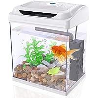 Dadypet Betta Aquarium 1-Gallon Fish Tank with LED Lighting, Plants, Pebbles, Pump