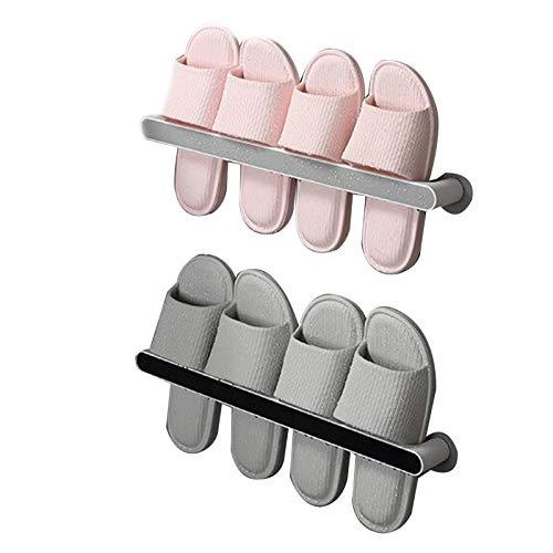 Lin Xin Wandregal Saugwand Doppelschicht Hausschuhe Rack Drain und Feuchtigkeit Punch-freie Installation Mehrzweck-Hausschuhe Rack Schuh Lagerung Artefakt für Wohnzimmer Badezimmer