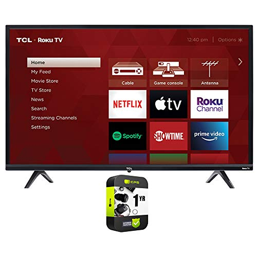 TCL 75S435 75 inch 4-Series 4K Ultra HD Smart Roku LED TV Bundle with 1 Year Extended Protection Plan