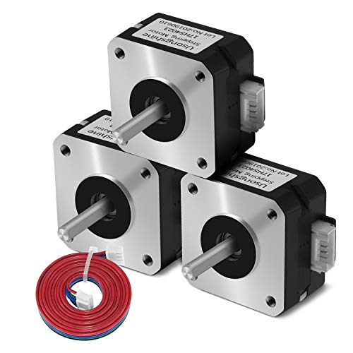 Motor paso a paso NEMA 17 Usongshine para extrusora de titanio Motor de impresora 3D 17HS4023 con cable (negro, 3 piezas)
