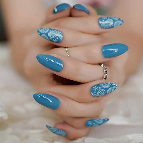 TJJF Nail Art Tips White Coral Sea World Gel Sharp Fake Nails Conçu Appuyez sur 24