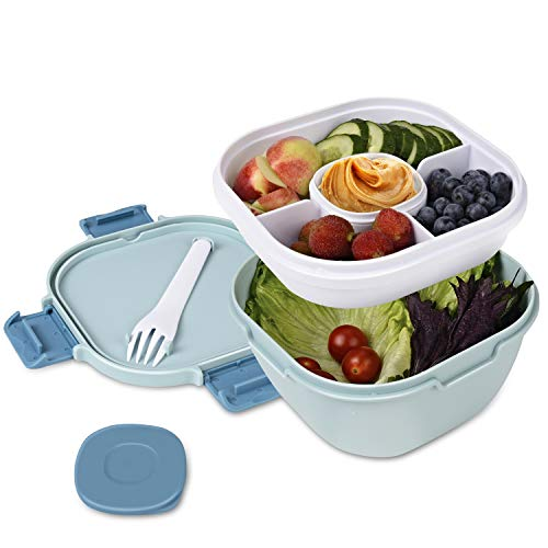 Upgraded Salad Bowl with Lid Leak-proof 57.5oz Stackable Salad Lunch Box with Larger Capacity Salad Mixing Bowl and 3-Compartment Bento-Style Topping Tray, Sauce Box, Reusable Cutlery, BPA FREE(blue)