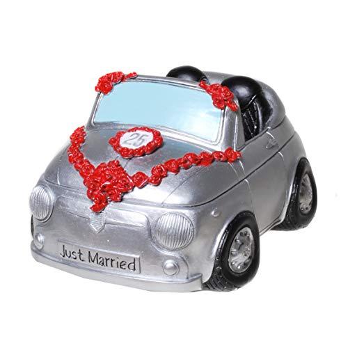 Topshop24you Bellissimo salvadanaio, cassapanca per matrimonio, nozze d'argento, cabriolet, auto di nozze argentata, coppia di sposi in auto