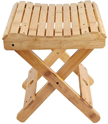 qiuqiu Bathroom Stools,natural Bamboo Folding Chair Non-Slip Waterproof Shower Stool Seat Foldable Shaving Shower Foot Rest Stool Solid Wood Stool Bathroom Chair Bathing Spa Stool