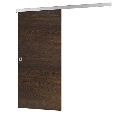 inova Holz-Schiebetür 880 x 2035 mm Wenge Alu Komplettset mit Lauf-Schiene und Quadratgriff inkl. Softclose