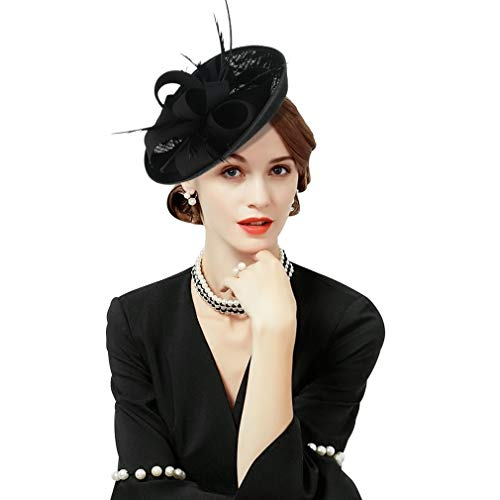 GEMVIE Women Wedding Party Bow Feather Fascinator Hair Clip Hat Black
