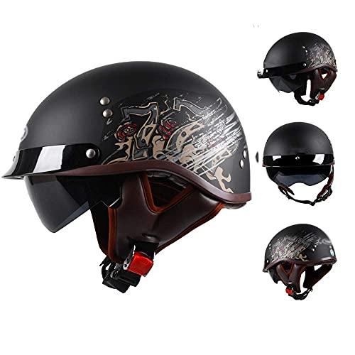 Casco de motocicleta eléctrico con visera para motocicleta, aprobado por DOT/ECE, para motocicleta, con visera de sol, crucero, scooter, medio casco para adultos y hombres y mujeres