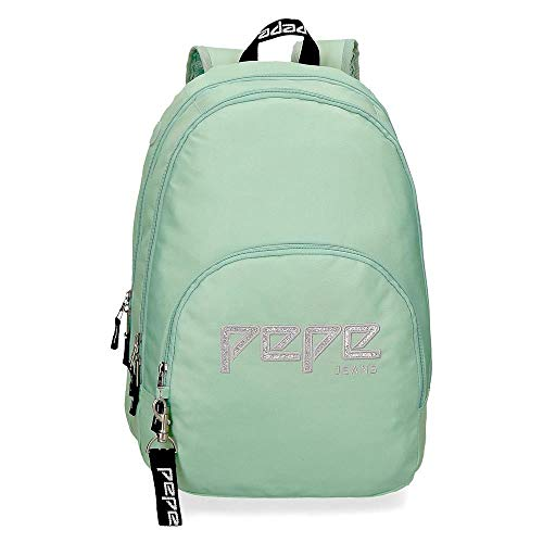 Pepe Jeans Uma Doppelfach-Rucksack An Trolley anpassbar Grün 32x44x22 cms Polyester 20.46L
