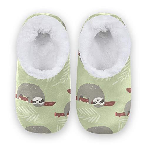 TropicalLife JNlover Funny Sloths - Zapatillas para colgar en la parte trasera cerrada para la casa, cómodas zapatillas de forro polar coral para interiores y exteriores