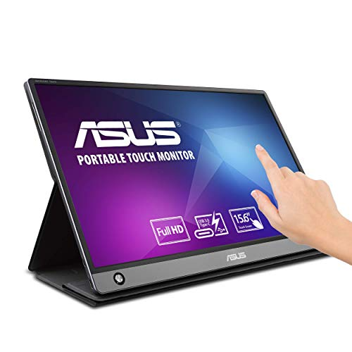 """Asus Zenscreen MB16AMT 15.6"""" Full HD Portable Monitor Touch Screen IPS Non-Glare Built-in Battery and Speakers Eye Care USB Type-C Micro HDMI W/Foldable Smart Case (Renewed)"""