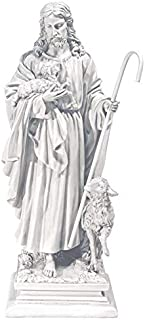 Design Toscano Jesus the Good Shepherd Religious Garden Statue, Large, 28 Inch, Polyresin, Antique Stone