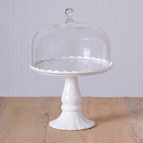 Virginia Casa Linea Volute Présentoir à gâteau blanc avec cloche en verre, Ø 28.0 cm