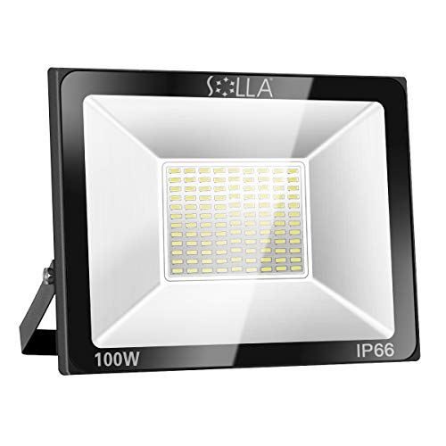SOLLA 100W LED Flutlicht Outdoor-Sicherheitsleuchte, 550W Äquiv, 3000K Warmweiß, 8000LM, Wasserdicht IP66, Außenwandleuchte