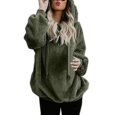 Lloopyting Women's Winter Hooded Sweatshirt Long Sleeves Faux Shearling Shaggy Warm Pullover Zipped Up with Pockets Tops