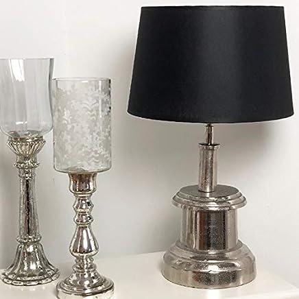 Tischlampe OBKA Holz naturbraun// Metall antik kupferfarben matt 47 cm Industrial