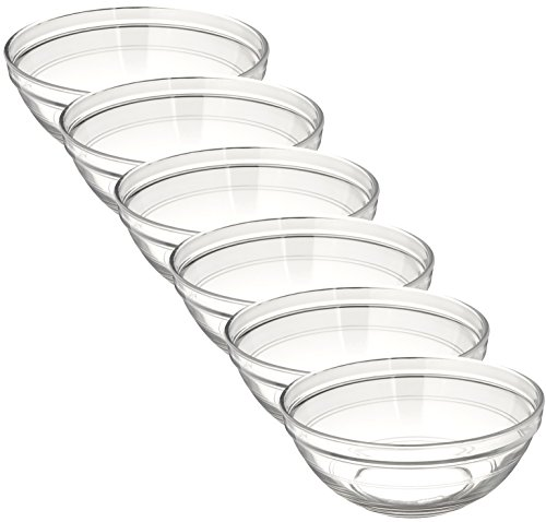 Duralex Made In France Lys Stackable Glass Bowl (Set of 6), 1.5 quart, Clear