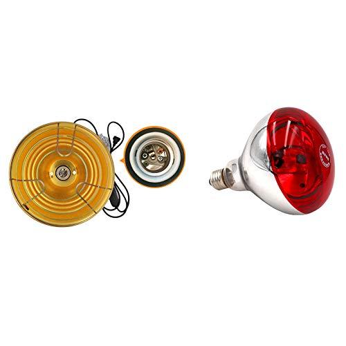 MGW Lámpara de Calor Lámpara de Calor infrarroja Aves de Corral 275w Soporte de lámpara de Bombilla infrarroja incluida Bombilla Calentamiento rápido, Ahorro de energía y Duradero