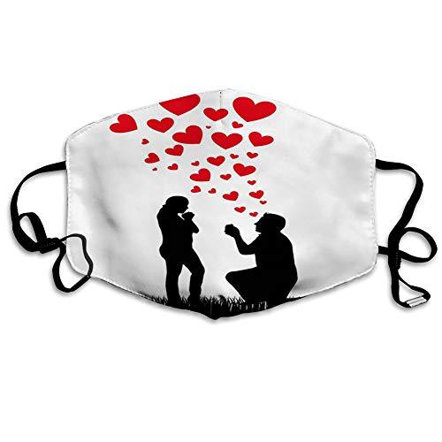 DPASIi Mundschutz Mund Anti-Staub-Abdeckung Mode,Wedding Proposal of Romantic Couple with Hearts Image,Mouth Cver Wiederverwendbare Fack-Abdeckung Bunte Krawattenfarbe