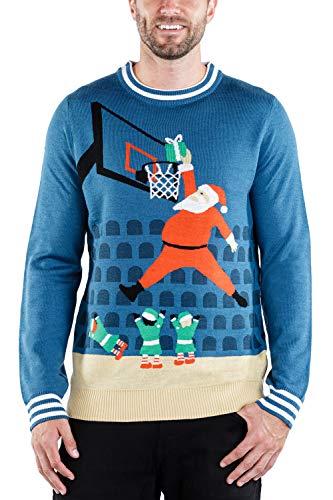 Tipsy Elves Men's Jingle Baller Sweater - Santa Basketball Christmas Sweater for Guys: XL Navy Blue