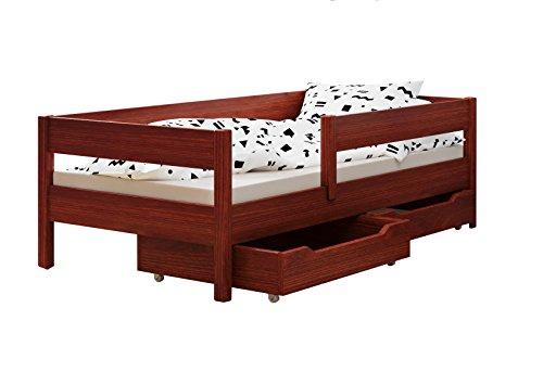 Toddler Miki Kinder Einzelbett mit Schubladen, 4Farben, viele verschiedenen Größen -, holz, Palisander, 200x90