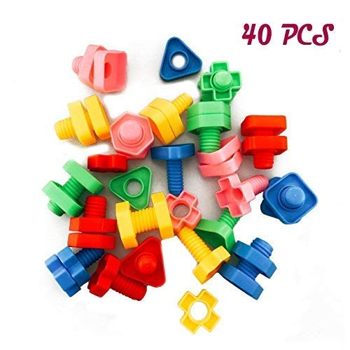 DLOnline 40PCS Jumbo Nuts and Bolts,Occupational Therapy Autism,Jumbo Nuts Bolts Toy,Screw nut toy,Screw toy,Jumbo Screw nut,Use child safety materials