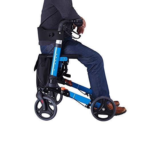 DGEMF Rollstuhl Rollator Aluminium Klappbarer Leichter Gehrahmen mit Feststellbremsen Sitzschale und Stockhalter