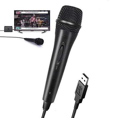 TUTUO USB Handheld Mikrofon für Nintendo Switch, Plug and Play 3M Hohe Klangqualität Kondensator Microphone Kompatibel mit PS4 / PS3 / Xbox One/Xbox 360 /Wii/PC-Guitar Hero,Rock Star,Lets Sing