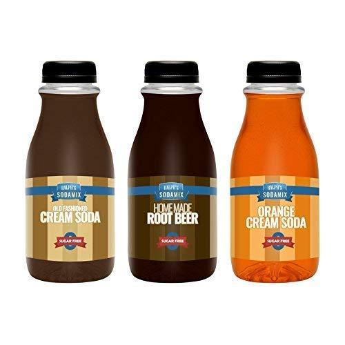 Ralph's 3 SUGAR FREE Diet Sparkling Water Soda Maker Flavor Syrup Pack | Cream Soda | Root Beer | Orange Cream Soda | Three 12oz Bottles | Sodamix
