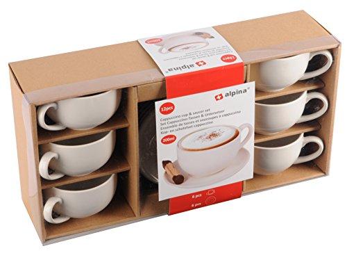 Alpina 871125285357per Cappuccino Set Tazze e sottobicchieri in Ceramica, 10cm, Bianco, 12unità