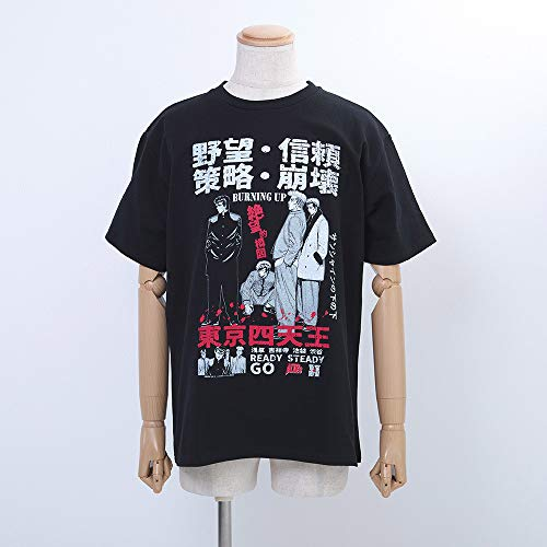 ろくでなしBLUES/ろくでなしブルース 東京四天王(前田・葛西・鬼塚・薬師寺)イラストTシャツ/ブラック
