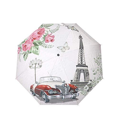 DZNOY Paraguas Plegables sombrilla sombrilla Triple Pliegue llover protección Solar llover y Sol Brote sombrilla (Color : Tower Sports Car)