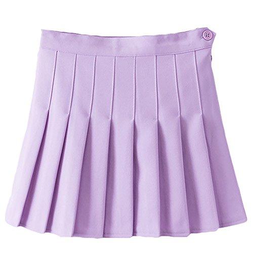 Women Girls Japan Short High Waist Flared Pleated Skater Tennis Skirts Sports Golf Back to School Uniform Skirt Schoolgirl Cheerleader A-Line Cosplay Costume Mini Scooter Skorts Skirts Lavender L