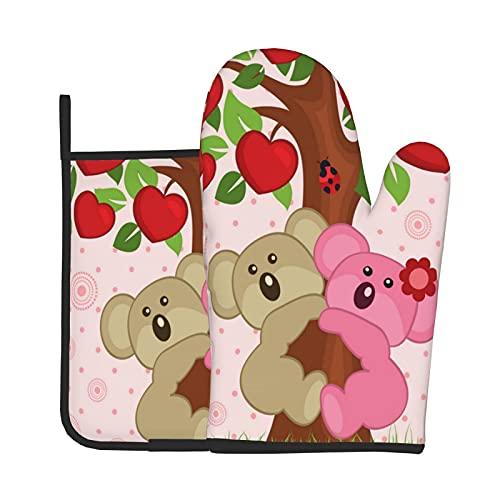 Juego de manoplas de horno y soportes para ollas Koala par en el árbol, almohadillas resistentes al calor, manos de mesa para ama de casa, estera de camping, antideslizante, utensilios de cocina