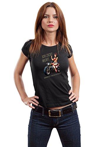 GASOLINE BANDIT® - Camiseta - Manga Corta - para Mujer Negro L